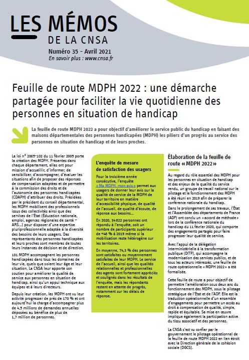 Mémo n° 35 - Feuille de route MDPH 2022 - accessible (PDF, 147.93 Ko)