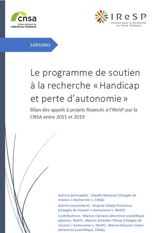 Le programme de soutien à la recherche « Handicap et perte d'autonomie ». Bilan 2011-2019 (ZIP, 2.04 Mo)