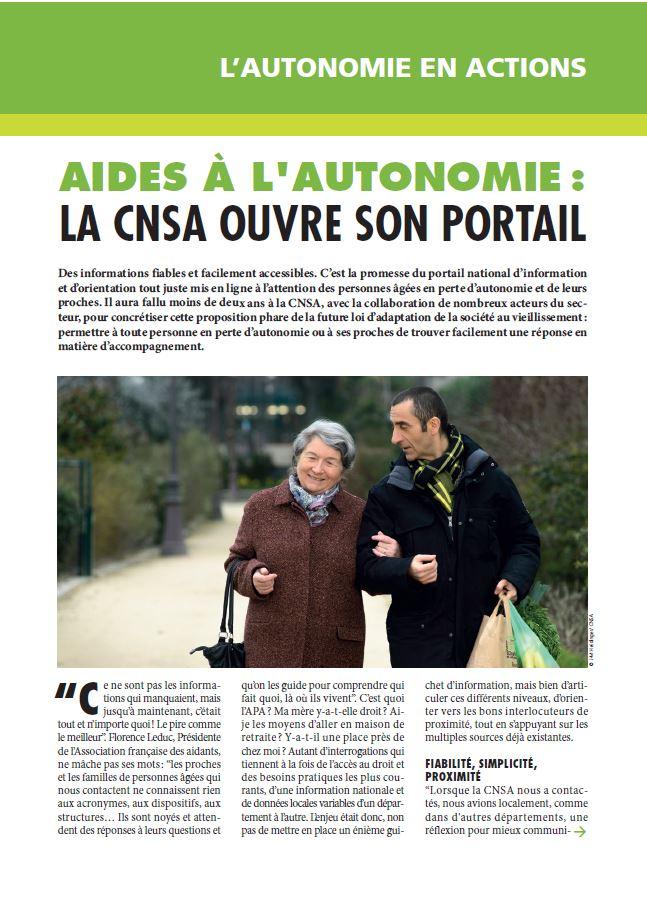 Juin 2015 : Aides à l'autonomie, la CNSA ouvre son portail (PDF, 809.41 Ko)