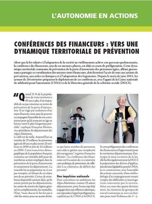 Novembre 2015 : conférences des financeurs, vers une dynamique territoriale de prévention (PDF, 531.24 Ko)