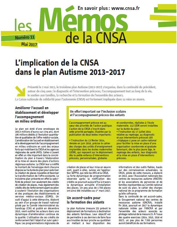 Mémo n° 11 - L'implication de la CNSA dans le plan Autisme 2013-2017 - mai 2017 (PDF, 113.61 Ko)