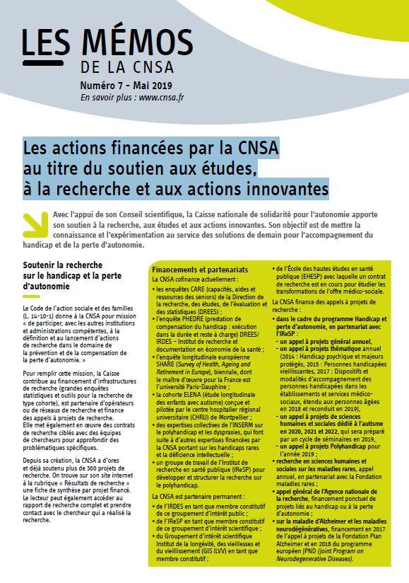 Mémo n° 7- Les actions financées par la CNSA au titre du soutien aux études, à la recherche et aux actions innovantes - mai 2019 (PDF, 212.75 Ko)