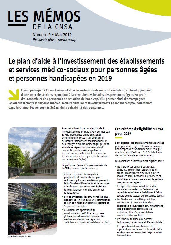 Mémo n° 9- Le PAI des établissements et services médico-sociaux pour personnes âgées et personnes handicapées en 2019 - mai 2019 (PDF, 356.69 Ko)