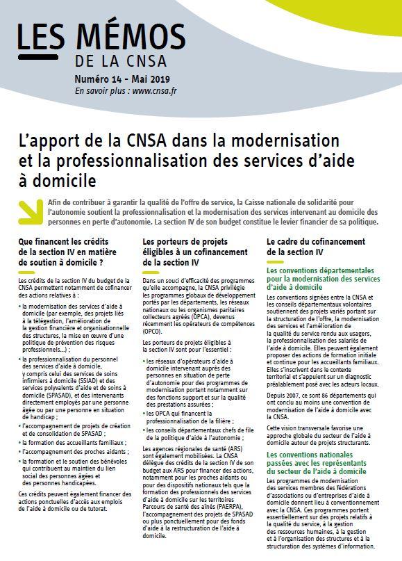 Mémo n° 14 - L'apport de la CNSA dans la modernisation et la professionnalisation des services d'aide à domicile - mai 2019 (PDF, 157.81 Ko)