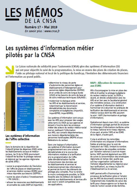 Mémo n° 17 - Les systèmes d'information métier pilotés par la CNSA - mai 2019 (PDF, 580.55 Ko)