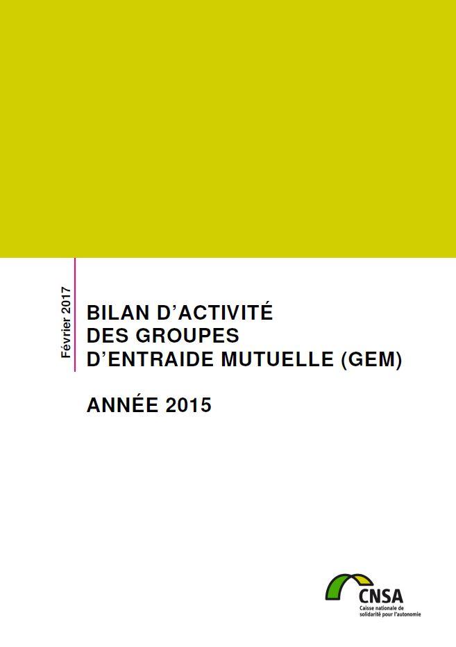 Bilan d'activité des groupes d'entraide mutuelle (GEM). Année 2015 (PDF, 1.59 Mo)
