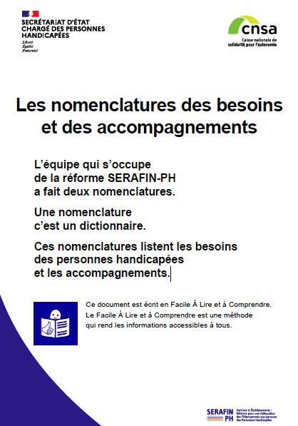 Les nomenclatures des besoins et des accompagnements SERAFIN-PH en facile à lire et à comprendre (PDF, 1.54 Mo)