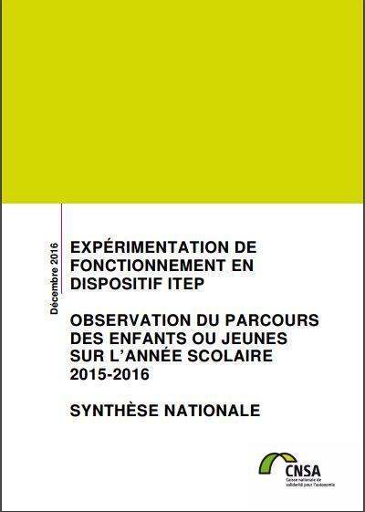 Rapport d'expérimentation de fonctionnement en dispositif ITEP (ZIP, 7.11 Mo)
