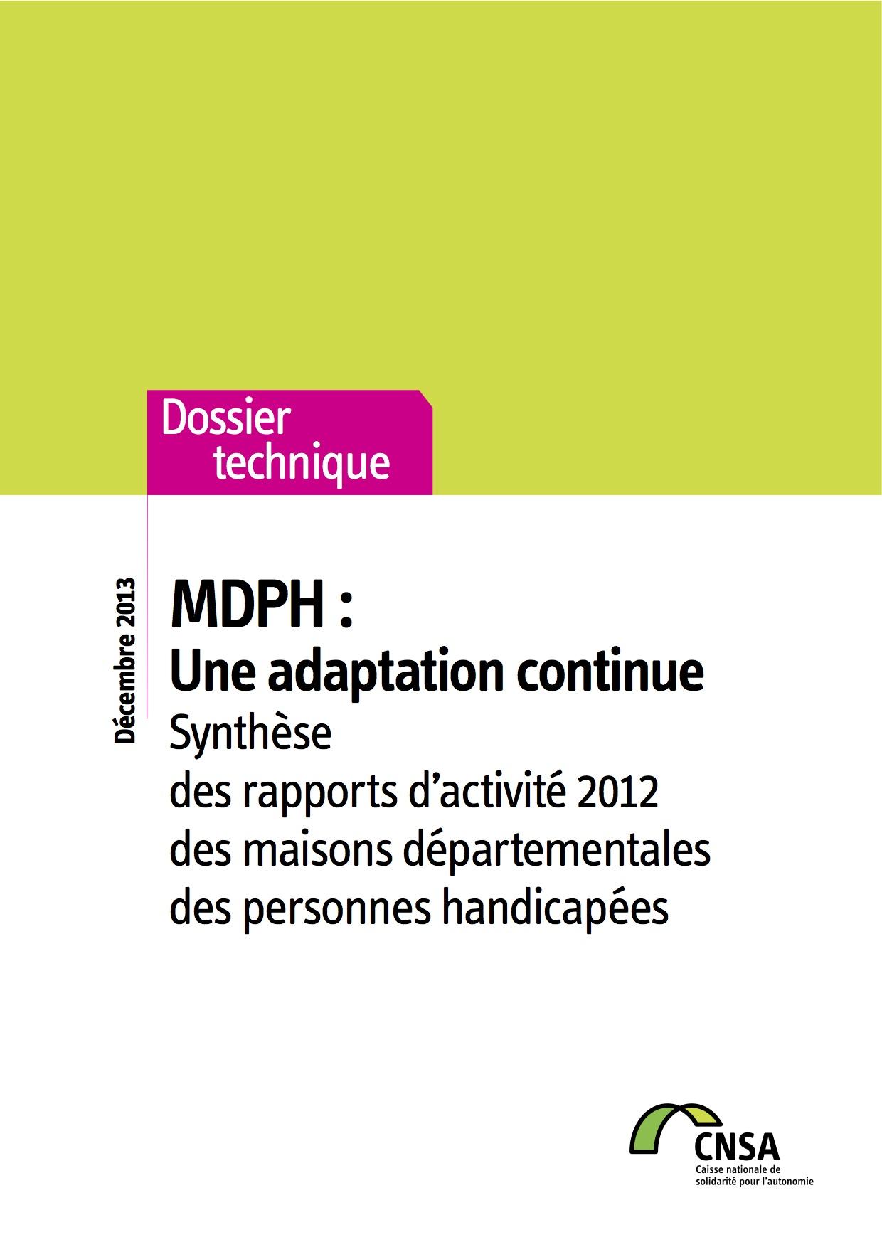 Rapport MDPH 2012 : une adaptation continue (PDF, 3.65 Mo)