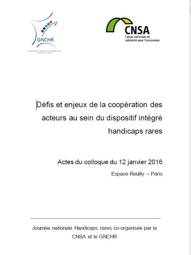 Actes Défis et enjeux de la coopération des acteurs au sein du dispositif intégré handicaps rares (PDF, 1.17 Mo)