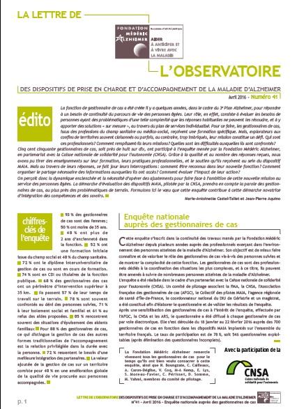 Enquête auprès des gestionnaires de cas - Lettre de l'observatoire de la Fondation Médéric Alzheimer (PDF, 2.37 Mo)