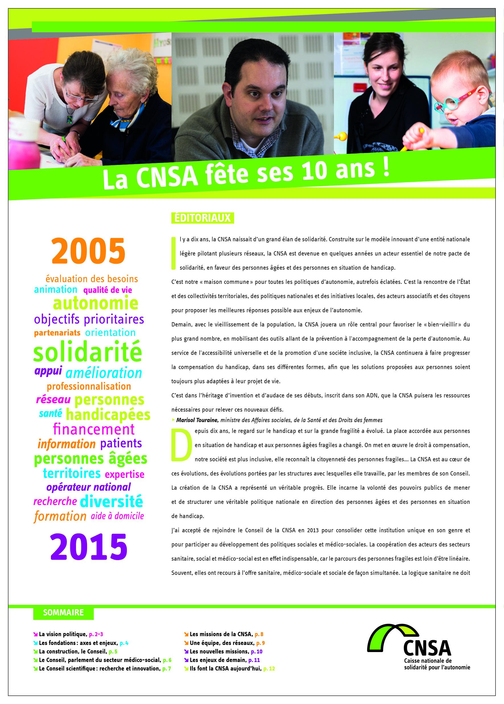 Les 10 ans de la CNSA. Hors-série de La Lettre CNSA - juin 2015 (PDF, 2.37 Mo)