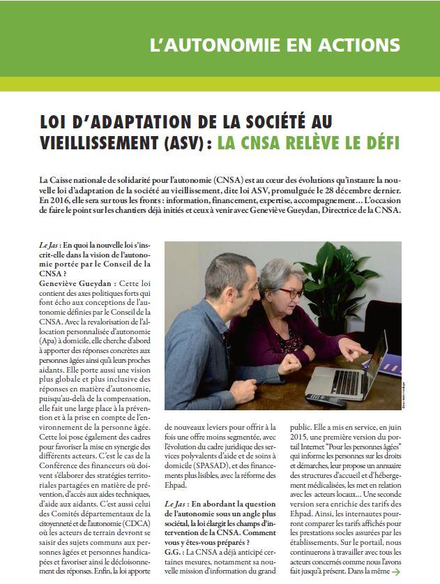 Février 2016 : Loi d'adaptation de la société au vieillissement, la CNSA relève le défi (PDF, 2.23 Mo)