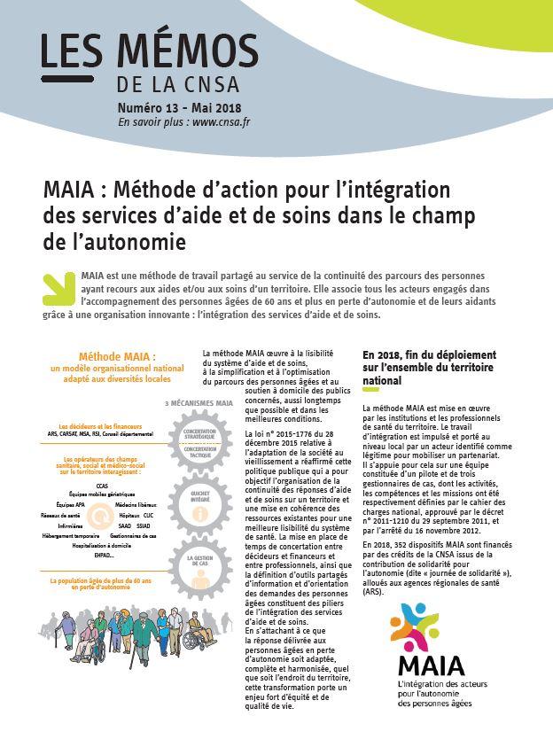 Mémo n° 13 - MAIA : Méthode d'action pour l'intégration des services d'aide et de soins dans le champ de l'autonomie - mai 2018 (PDF, 485.71 Ko)