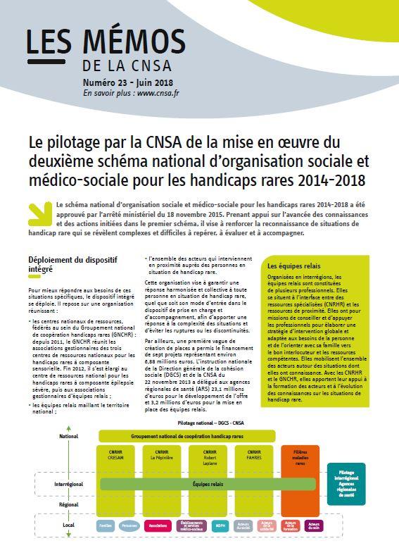 Mémo n° 23 - Le pilotage par la CNSA de la mise en œuvre du deuxième schéma pour les handicaps rares 2014-2018 - juin 2018 (PDF, 1.93 Mo)