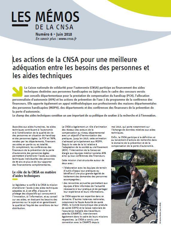 Mémo n° 6 - Les actions de la CNSA pour une meilleure adéquation entre les besoins des personnes et les aides techniques - 2016 (PDF, 179.12 Ko)
